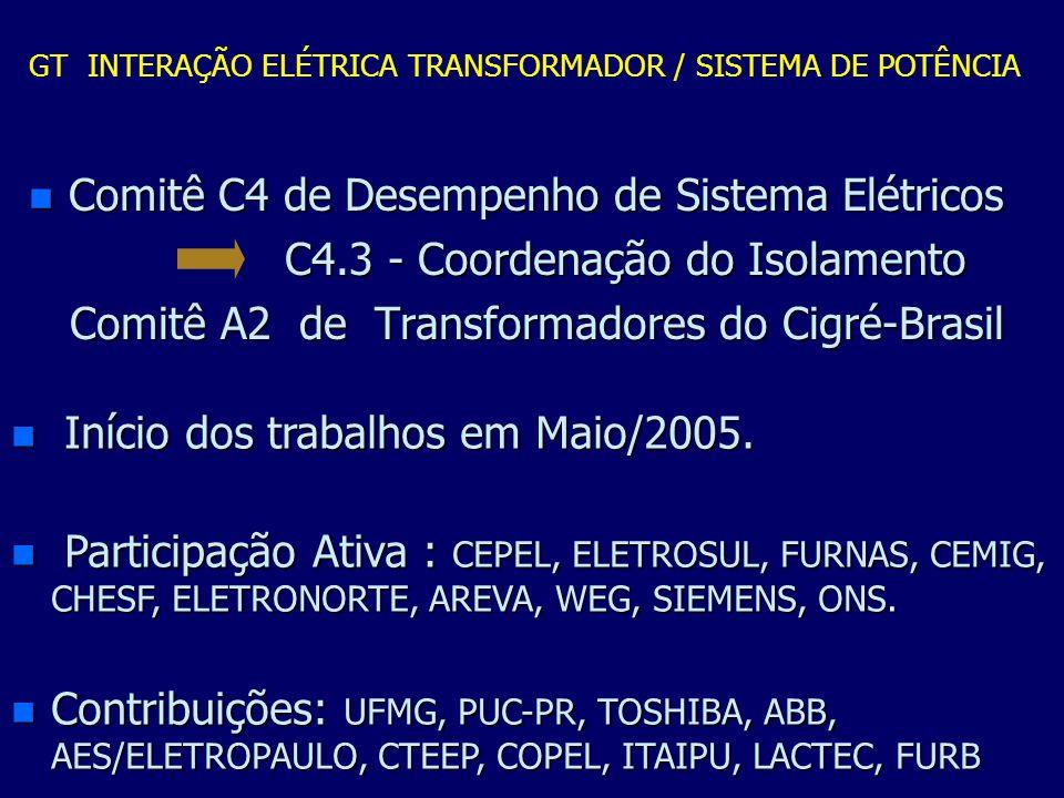 n Comitê C4 de Desempenho de Sistema Elétricos C4.3 - Coordenação do Isolamento C4.3 - Coordenação do Isolamento Comitê A2 de Transformadores do Cigré