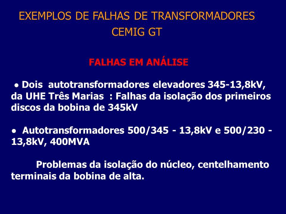 FALHAS EM ANÁLISE ● Dois autotransformadores elevadores 345-13,8kV, da UHE Três Marias : Falhas da isolação dos primeiros discos da bobina de 345kV ●