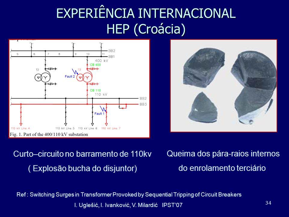 34 EXPERIÊNCIA INTERNACIONAL HEP (Croácia) Curto–circuito no barramento de 110kv ( Explosão bucha do disjuntor) Queima dos pára-raios internos do enro