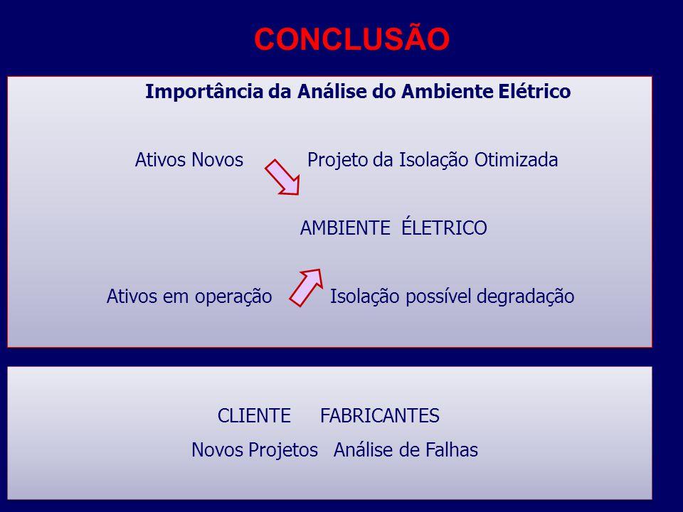CONCLUSÃO Importância da Análise do Ambiente Elétrico Ativos Novos Projeto da Isolação Otimizada AMBIENTE ÉLETRICO Ativos em operação Isolação possíve