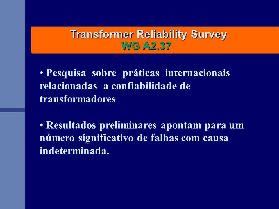Transformer Reliability Survey Transformer Reliability Survey WG A2.37 WG A2.37 Pesquisa sobre práticas internacionais relacionadas a confiabilidade d