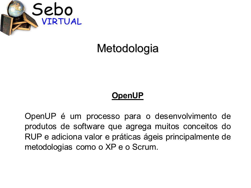 Metodologia OpenUP OpenUP é um processo para o desenvolvimento de produtos de software que agrega muitos conceitos do RUP e adiciona valor e práticas ágeis principalmente de metodologias como o XP e o Scrum.