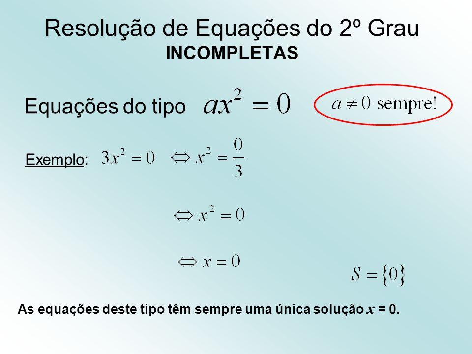 Resolução de Equações do 2º Grau INCOMPLETAS Equações do tipo Exemplo: As equações deste tipo têm sempre uma única solução x = 0.