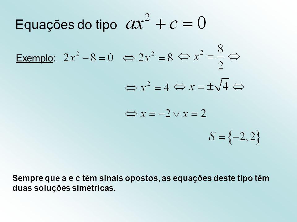 Equações do tipo Exemplo: Sempre que a e c têm sinais opostos, as equações deste tipo têm duas soluções simétricas.