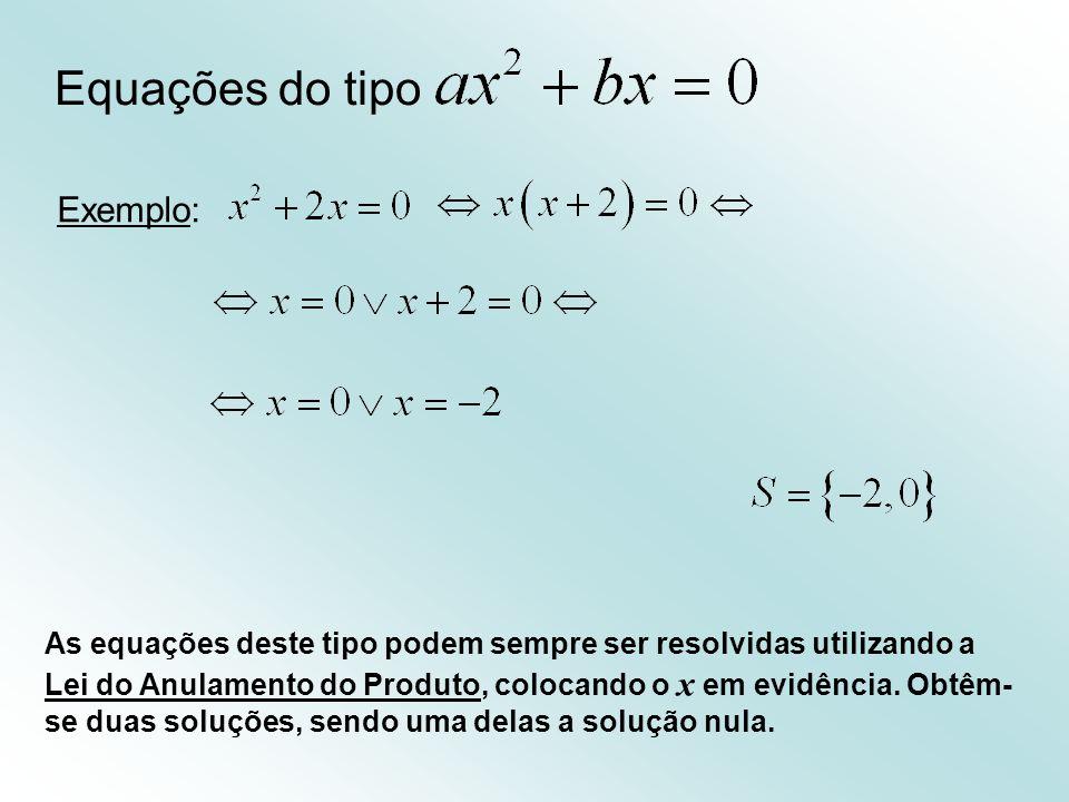 Equações do tipo Exemplo: As equações deste tipo podem sempre ser resolvidas utilizando a Lei do Anulamento do Produto, colocando o x em evidência.