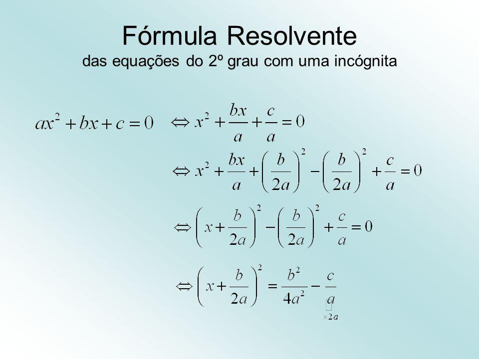 Fórmula Resolvente das equações do 2º grau com uma incógnita