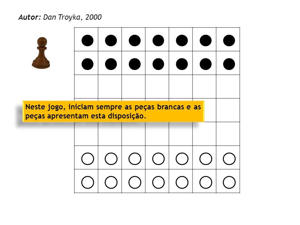 O objetivo do jogo é chegar à primeira linha do adversário com uma das suas peças, como se exemplifica.