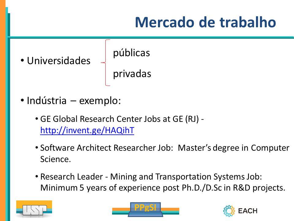 PPgSI Mercado de trabalho Universidades Indústria – exemplo: GE Global Research Center Jobs at GE (RJ) - http://invent.ge/HAQihT http://invent.ge/HAQi