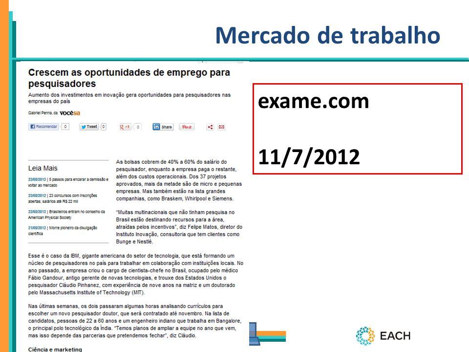 PPgSI Mercado de trabalho exame.com 11/7/2012