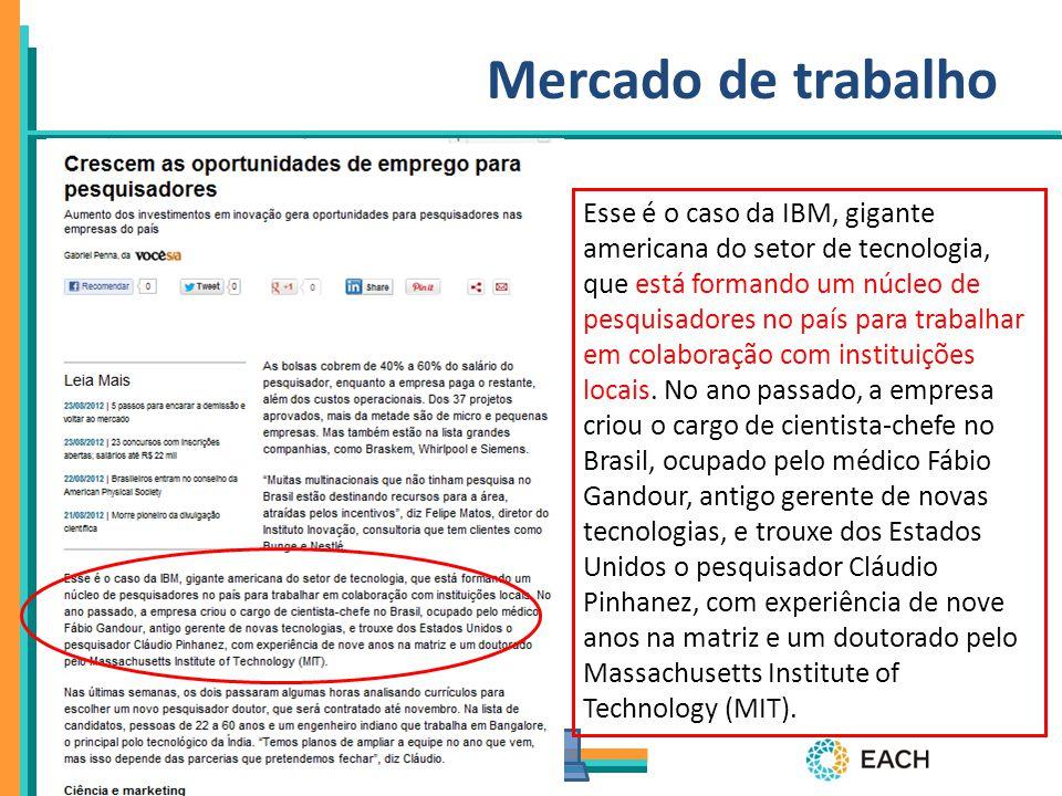 PPgSI Mercado de trabalho Esse é o caso da IBM, gigante americana do setor de tecnologia, que está formando um núcleo de pesquisadores no país para tr