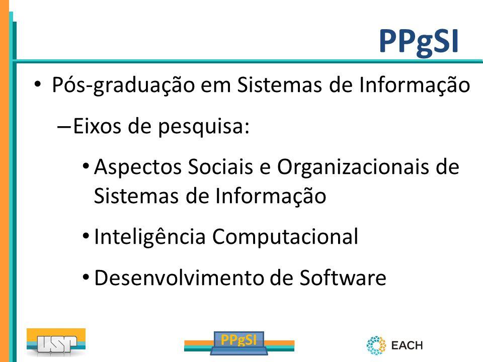 Pós-graduação em Sistemas de Informação – Eixos de pesquisa: Aspectos Sociais e Organizacionais de Sistemas de Informação Inteligência Computacional D