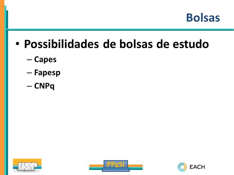 PPgSI Bolsas Possibilidades de bolsas de estudo – Capes – Fapesp – CNPq