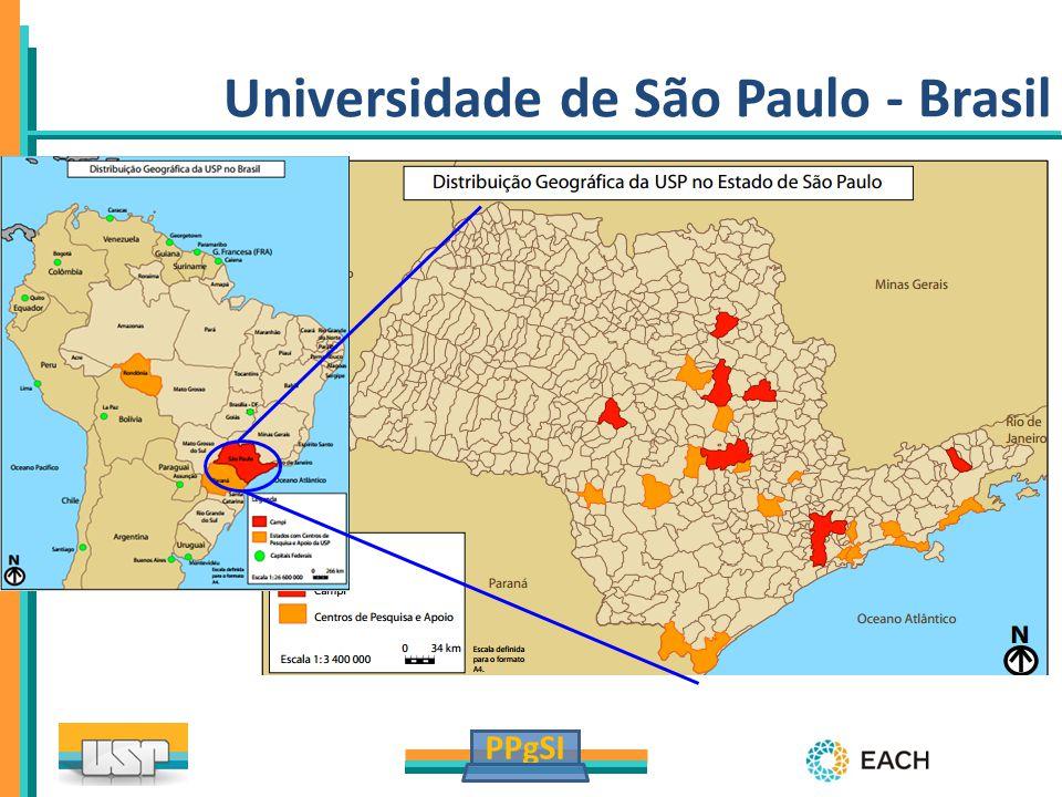 PPgSI www.usp.br A maior universidade pública do Brasil ~92.000 alunos ~6.000 professores 249 cursos de graduação 641 cursos de pós-graduação Universidade de São Paulo - Brasil