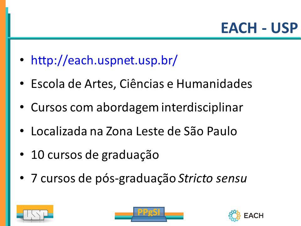 PPgSI http://each.uspnet.usp.br/ Escola de Artes, Ciências e Humanidades Cursos com abordagem interdisciplinar Localizada na Zona Leste de São Paulo 1