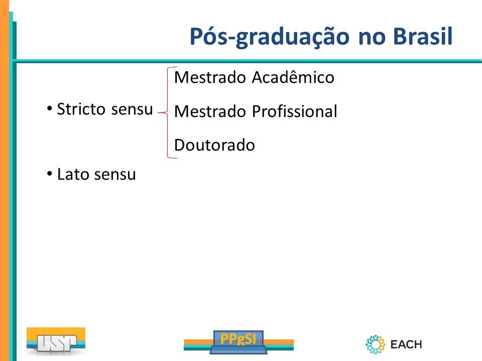 PPgSI Pós-graduação no Brasil Stricto sensu Lato sensu Mestrado Acadêmico Mestrado Profissional Doutorado