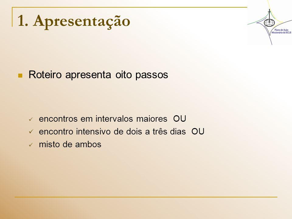 1. Apresentação Roteiro apresenta oito passos encontros em intervalos maiores OU encontro intensivo de dois a três dias OU misto de ambos