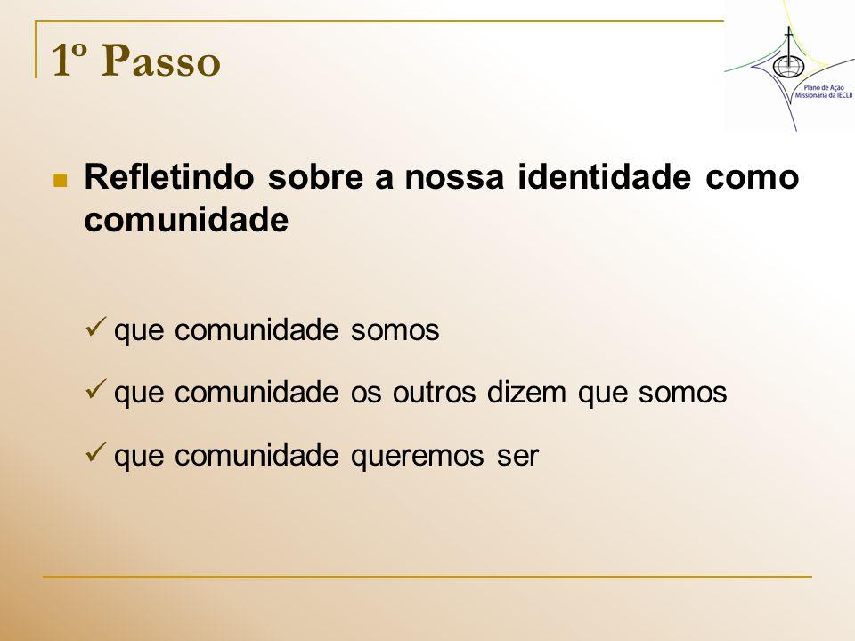 2º Passo Relacionando a nossa identidade como comunidade às diretrizes do PAMI Identidade X Diretrizes do PAMI