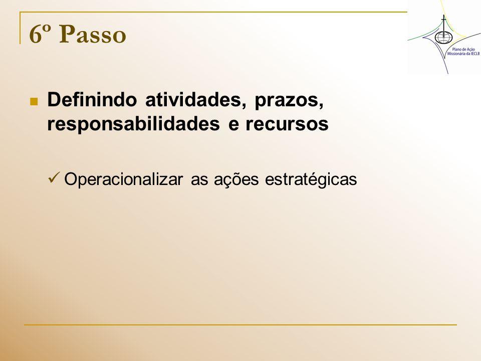 6º Passo Definindo atividades, prazos, responsabilidades e recursos Operacionalizar as ações estratégicas