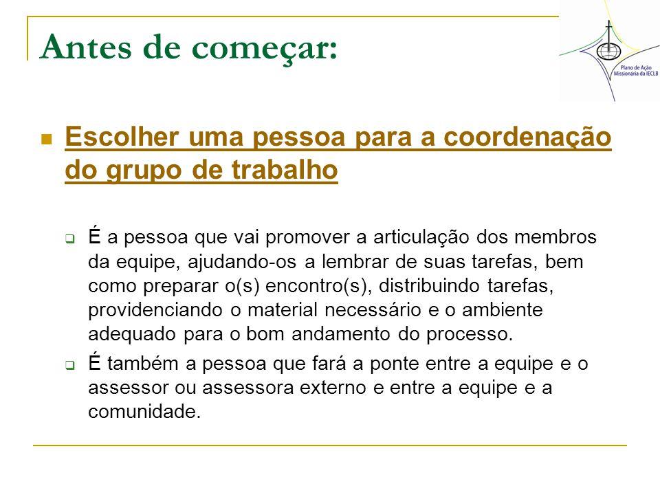 Antes de começar: Escolher uma pessoa para a coordenação do grupo de trabalho Escolher uma pessoa para a coordenação do grupo de trabalho  É a pessoa
