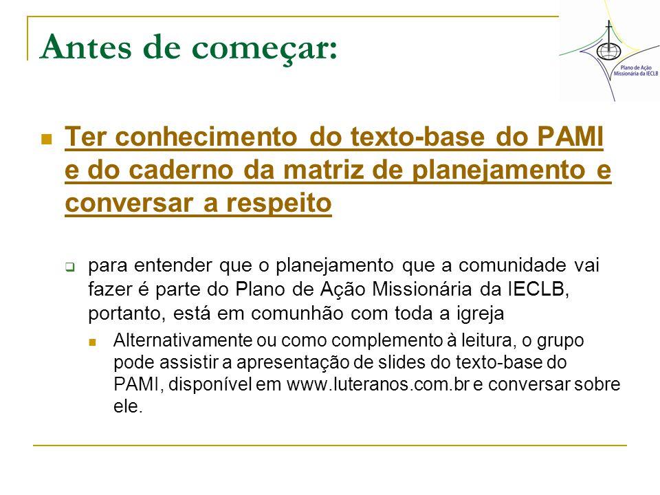 Antes de começar: Ter conhecimento do texto-base do PAMI e do caderno da matriz de planejamento e conversar a respeito Ter conhecimento do texto-base
