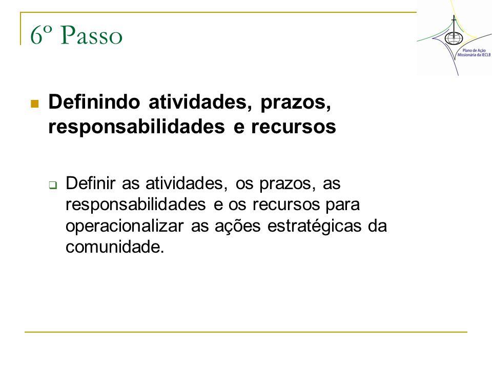 6º Passo Definindo atividades, prazos, responsabilidades e recursos  Definir as atividades, os prazos, as responsabilidades e os recursos para operac