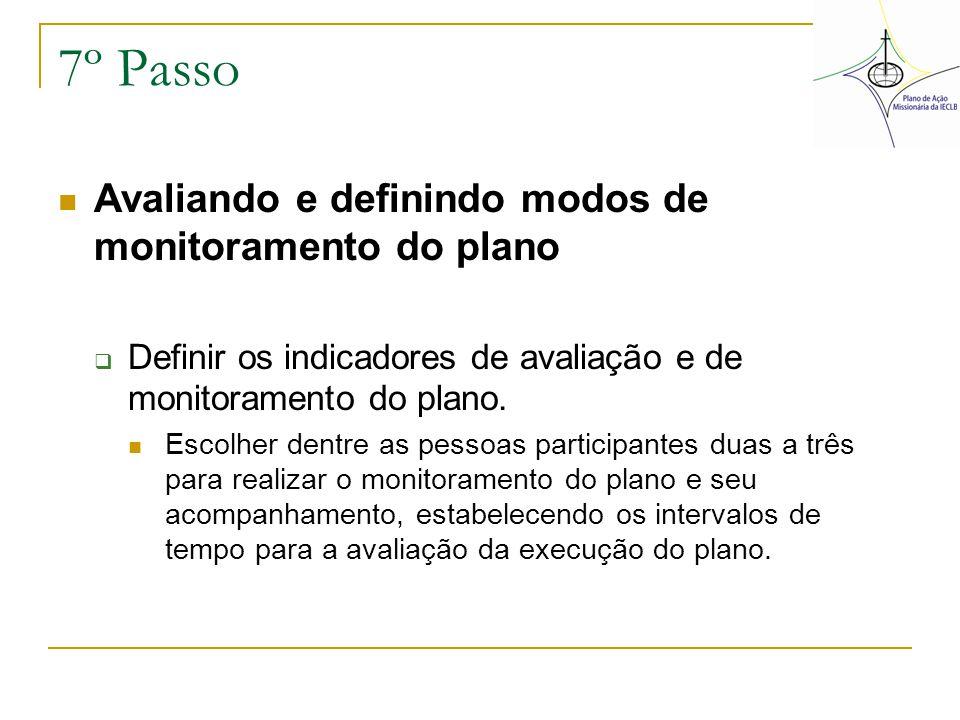 7º Passo Avaliando e definindo modos de monitoramento do plano  Definir os indicadores de avaliação e de monitoramento do plano. Escolher dentre as p