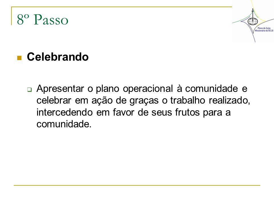8º Passo Celebrando  Apresentar o plano operacional à comunidade e celebrar em ação de graças o trabalho realizado, intercedendo em favor de seus fru