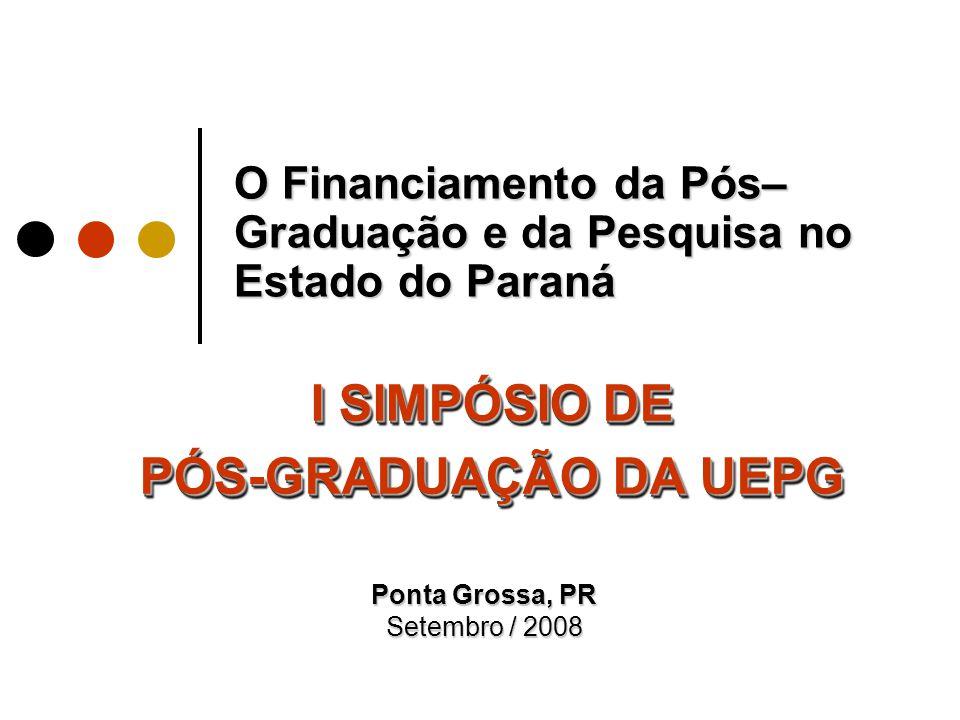 O Financiamento da Pós– Graduação e da Pesquisa no Estado do Paraná I SIMPÓSIO DE PÓS-GRADUAÇÃO DA UEPG I SIMPÓSIO DE PÓS-GRADUAÇÃO DA UEPG Ponta Grossa, PR Setembro / 2008