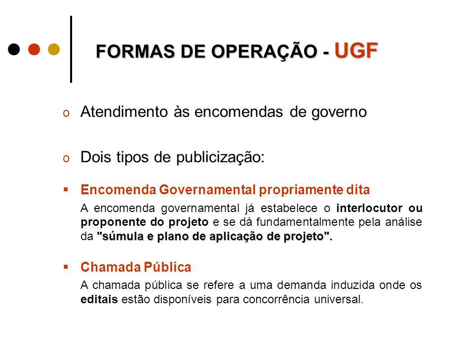 o Atendimento às encomendas de governo o Dois tipos de publicização:  Encomenda Governamental propriamente dita súmula e plano de aplicação de projeto .