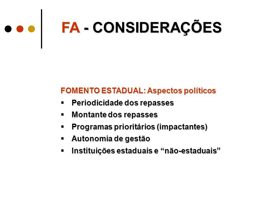 FA - CONSIDERAÇÕES FOMENTO ESTADUAL: Aspectos políticos  Periodicidade dos repasses  Montante dos repasses  Programas prioritários (impactantes)  Autonomia de gestão  Instituições estaduais e não-estaduais