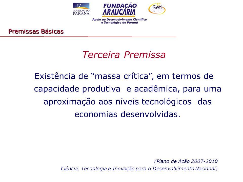 Terceira Premissa Existência de massa crítica , em termos de capacidade produtiva e acadêmica, para uma aproximação aos níveis tecnológicos das economias desenvolvidas.