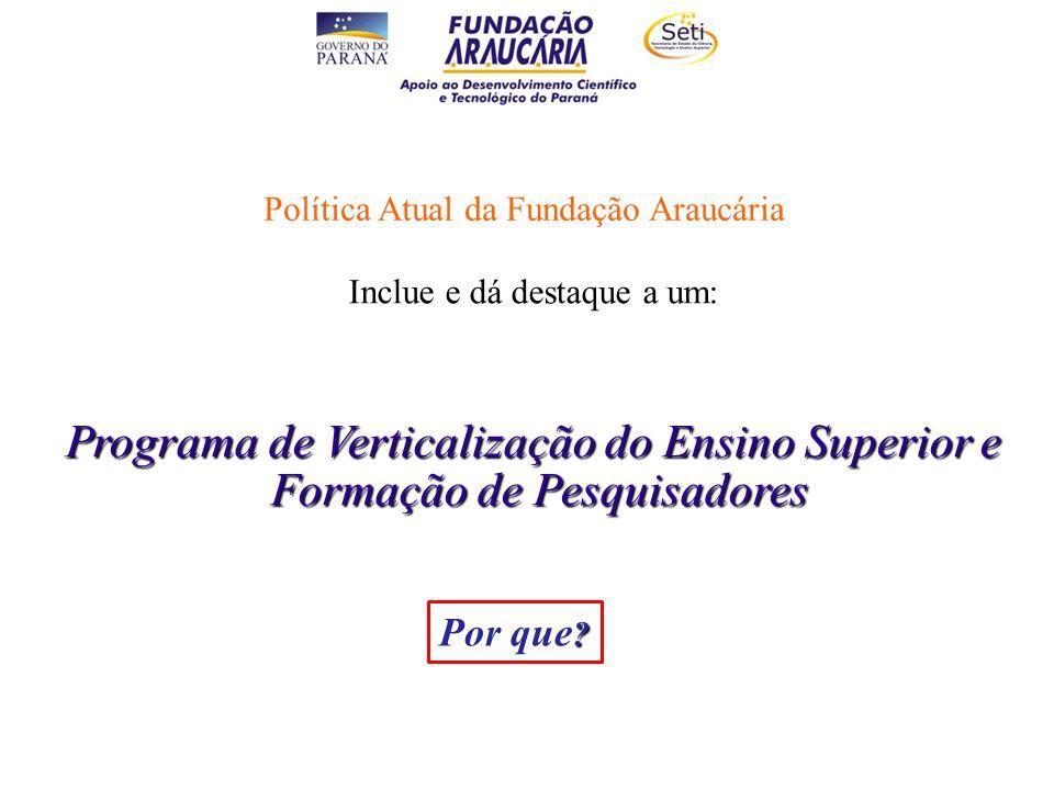Política Atual da Fundação Araucária Inclue e dá destaque a um: Programa de Verticalização do Ensino Superior e Formação de Pesquisadores Formação de Pesquisadores .