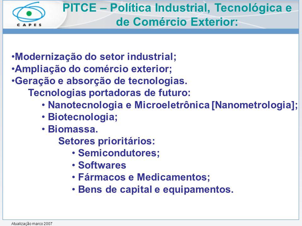 Modernização do setor industrial; Ampliação do comércio exterior; Geração e absorção de tecnologias.