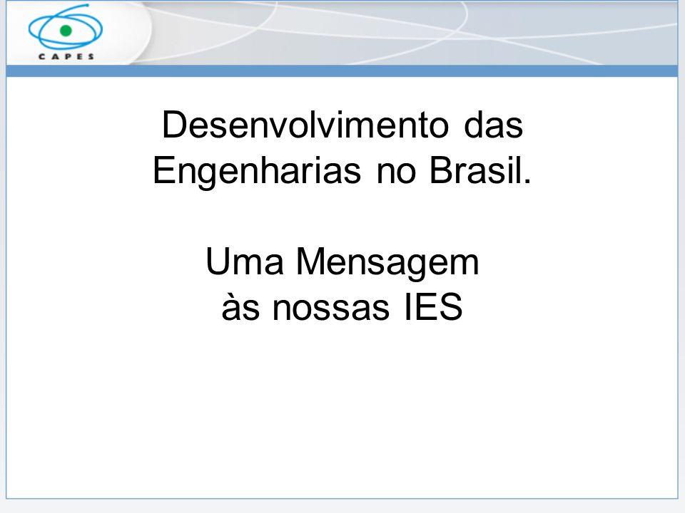 Desenvolvimento das Engenharias no Brasil. Uma Mensagem às nossas IES