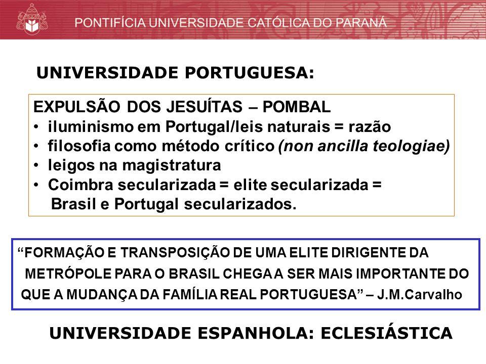 EXPULSÃO DOS JESUÍTAS – POMBAL iluminismo em Portugal/leis naturais = razão filosofia como método crítico (non ancilla teologiae) leigos na magistratura Coimbra secularizada = elite secularizada = Brasil e Portugal secularizados.