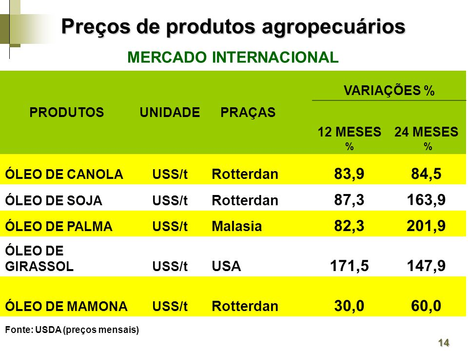MERCADO INTERNACIONAL PRODUTOSUNIDADEPRAÇAS VARIAÇÕES % 12 MESES % 24 MESES % ÓLEO DE CANOLAUSS/t Rotterdan 83,984,5 ÓLEO DE SOJAUSS/t Rotterdan 87,3163,9 ÓLEO DE PALMAUSS/t Malasia 82,3201,9 ÓLEO DE GIRASSOLUSS/t USA 171,5147,9 ÓLEO DE MAMONAUSS/t Rotterdan 30,060,0 Fonte: USDA (preços mensais) 14 Preços de produtos agropecuários