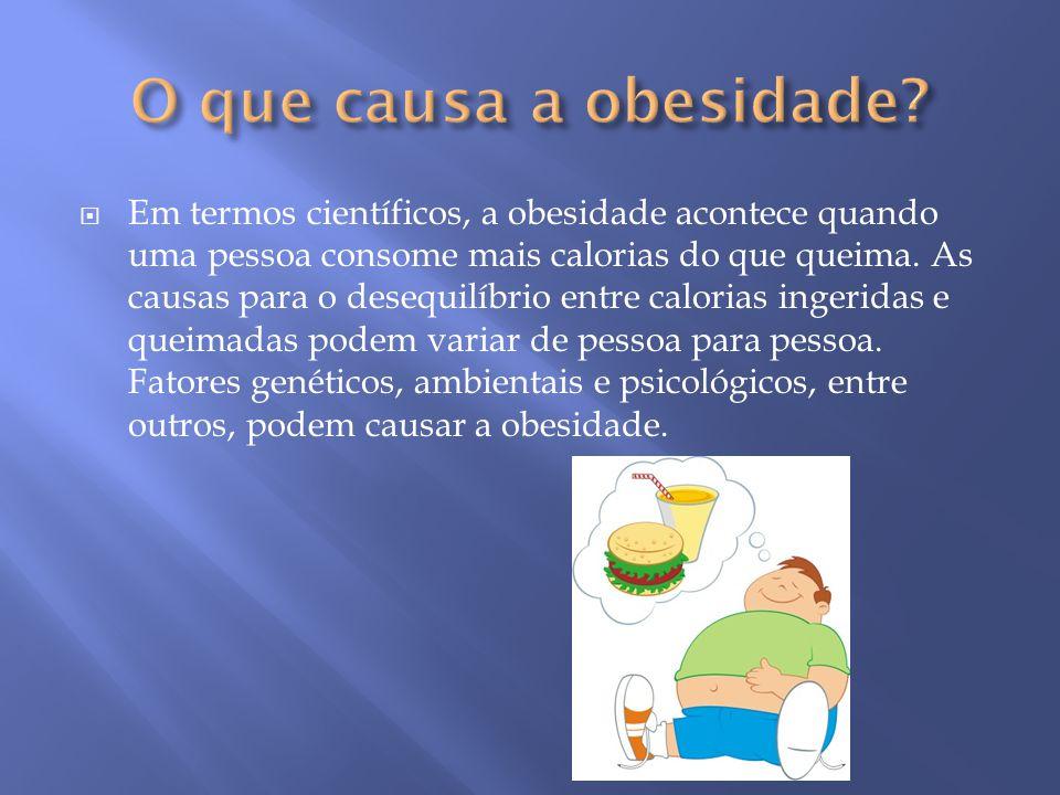  Em termos científicos, a obesidade acontece quando uma pessoa consome mais calorias do que queima. As causas para o desequilíbrio entre calorias ing
