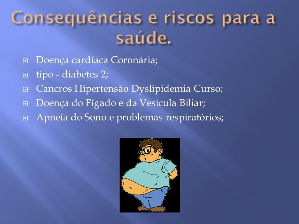  Doença cardíaca Coronária;  tipo - diabetes 2;  Cancros Hipertensão Dyslipidemia Curso;  Doença do Fígado e da Vesícula Biliar;  Apneia do Sono