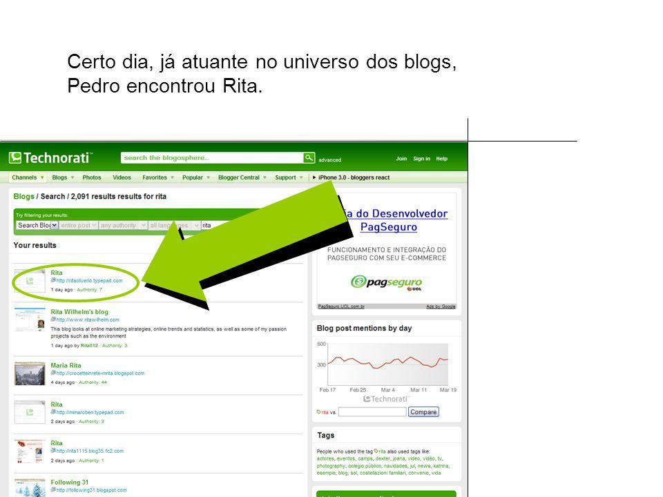 Certo dia, já atuante no universo dos blogs, Pedro encontrou Rita.