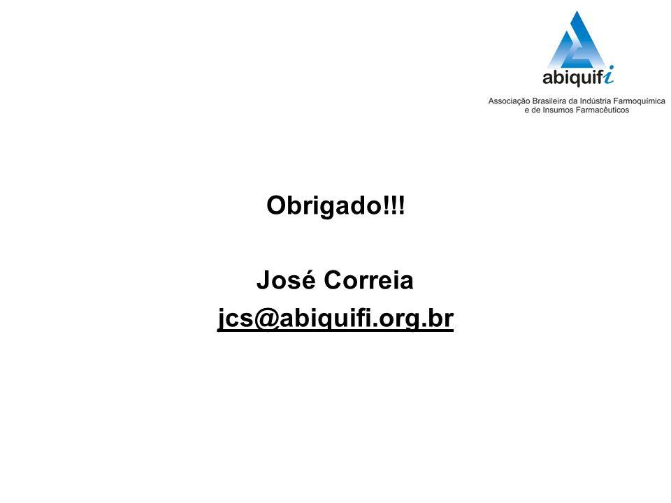 Obrigado!!! José Correia jcs@abiquifi.org.br