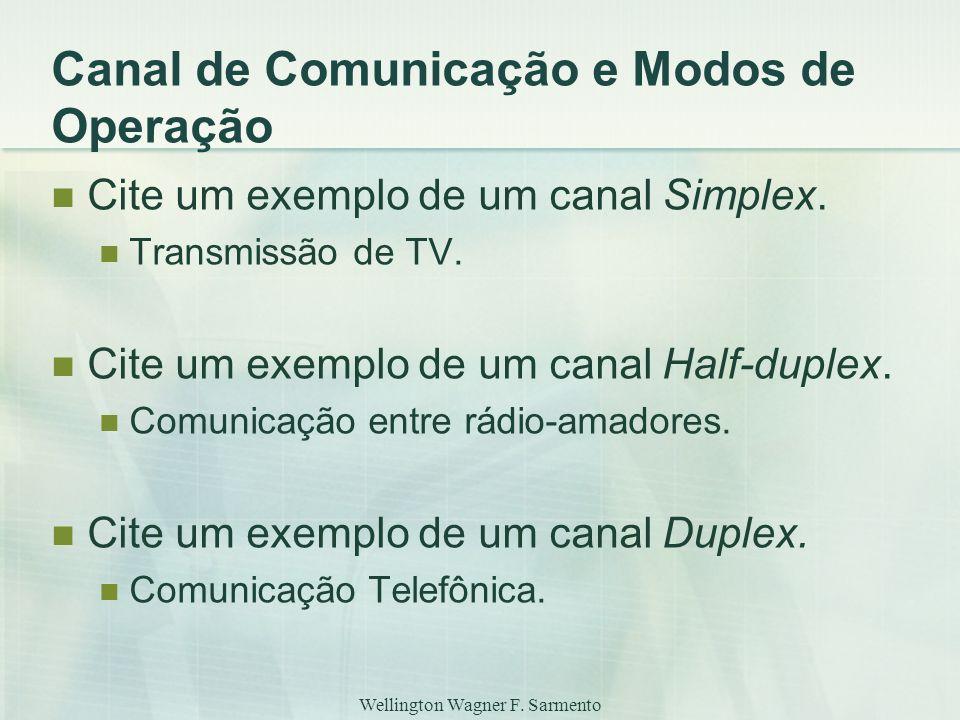 Wellington Wagner F. Sarmento Canal de Comunicação e Modos de Operação Cite um exemplo de um canal Simplex. Transmissão de TV. Cite um exemplo de um c