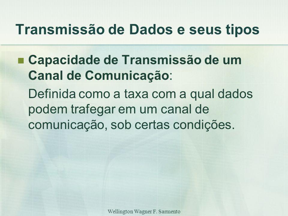 Wellington Wagner F. Sarmento Transmissão de Dados e seus tipos Capacidade de Transmissão de um Canal de Comunicação: Definida como a taxa com a qual