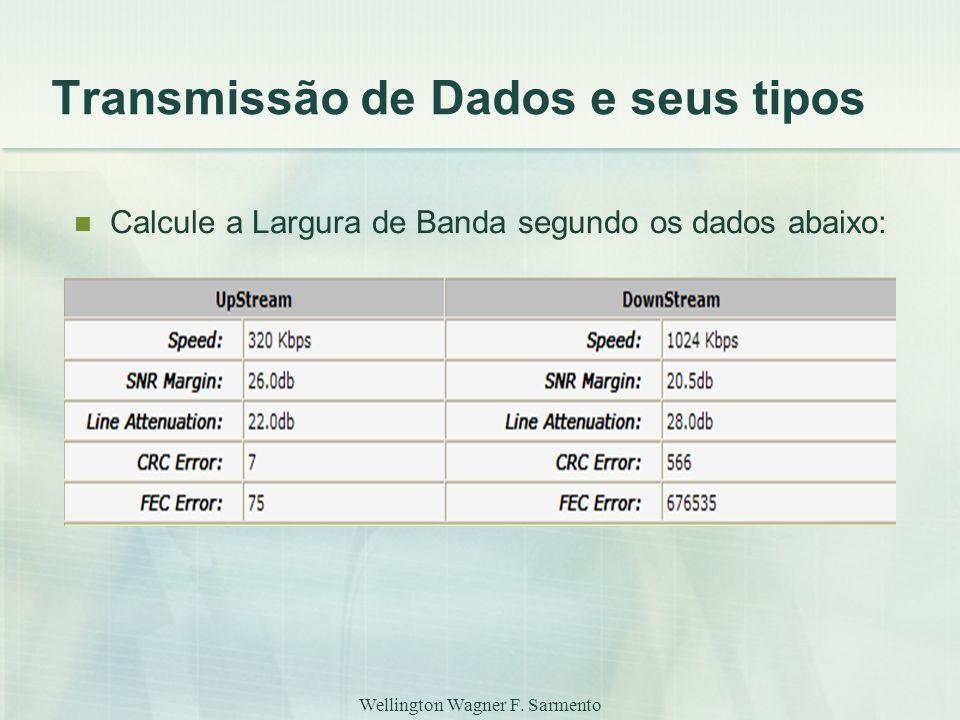 Wellington Wagner F. Sarmento Transmissão de Dados e seus tipos Calcule a Largura de Banda segundo os dados abaixo: