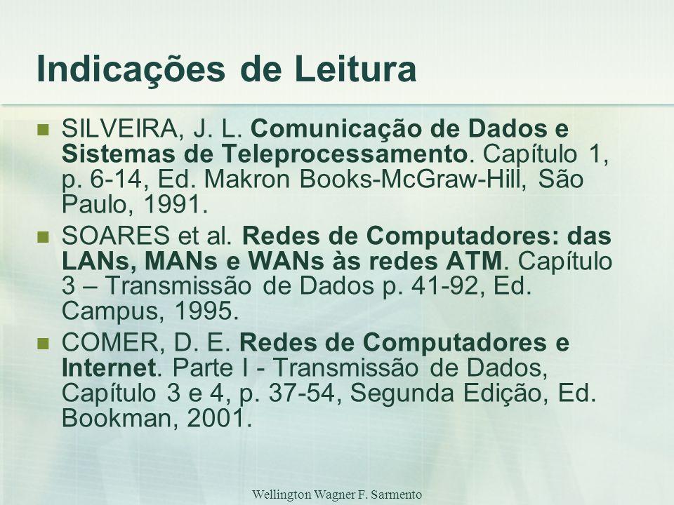 Wellington Wagner F. Sarmento Indicações de Leitura SILVEIRA, J. L. Comunicação de Dados e Sistemas de Teleprocessamento. Capítulo 1, p. 6-14, Ed. Mak