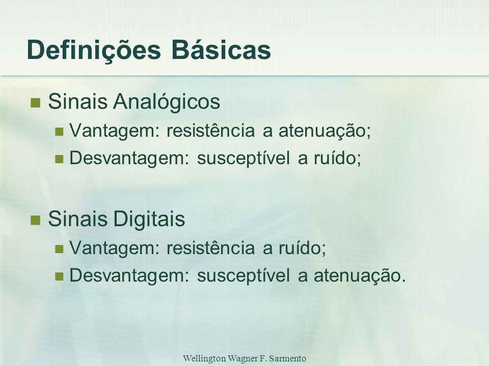 Wellington Wagner F. Sarmento Definições Básicas Sinais Analógicos Vantagem: resistência a atenuação; Desvantagem: susceptível a ruído; Sinais Digitai