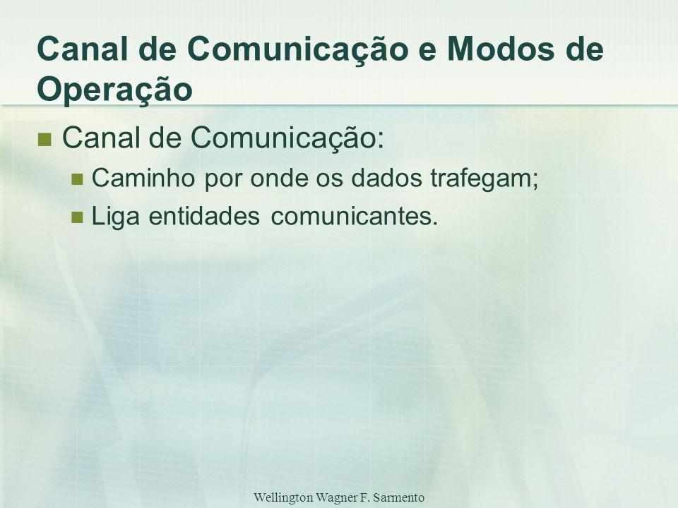 Wellington Wagner F. Sarmento Canal de Comunicação e Modos de Operação Canal de Comunicação: Caminho por onde os dados trafegam; Liga entidades comuni