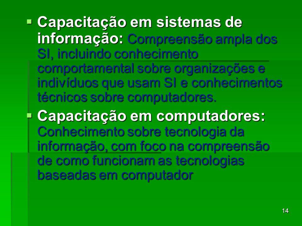 14  Capacitação em sistemas de informação: Compreensão ampla dos SI, incluindo conhecimento comportamental sobre organizações e indivíduos que usam S