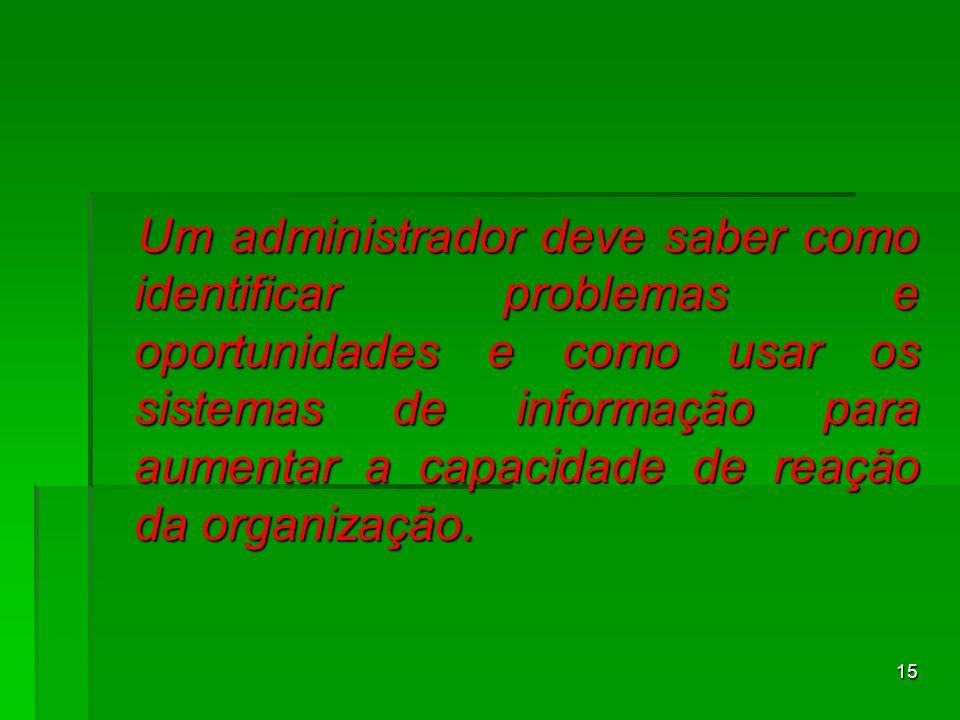 15 Um administrador deve saber como identificar problemas e oportunidades e como usar os sistemas de informação para aumentar a capacidade de reação d