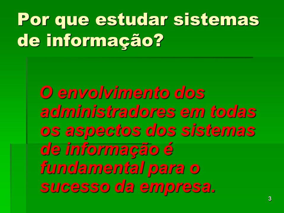 3 Por que estudar sistemas de informação? O envolvimento dos administradores em todas os aspectos dos sistemas de informação é fundamental para o suce