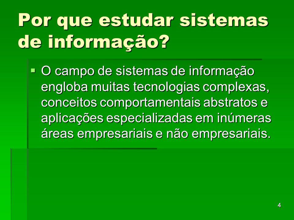 4 Por que estudar sistemas de informação?  O campo de sistemas de informação engloba muitas tecnologias complexas, conceitos comportamentais abstrato